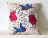 Retro Applique Throw Pillow with Rockabilly Swallow & Rose Tattoo - Made to Order