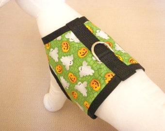 Green Pumpkin And Ghost Halloween Dog Harness Vest