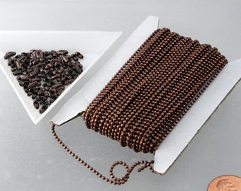 Antique Copper Chain Bulk Chain, 32 ft.  spool of Antique Copper Necklace ball chain - 1.5mm size with free 100pcs of connector(insert)