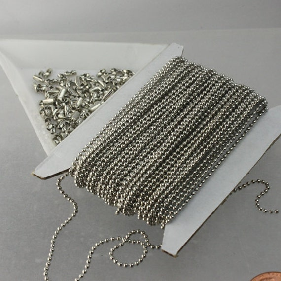 100 ft. spool of Antique Silver finished ROUND ball chain - 1.5mm ball size with 100pcs of connector (insert type)-shp from CA USA