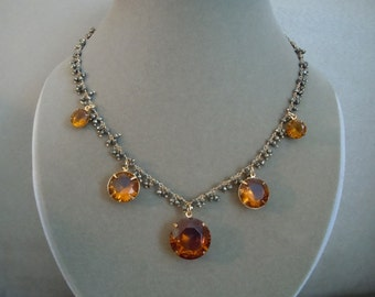 Jasmine -- Warm Topaz Crystal and Pyrite Gemstone Focal necklace