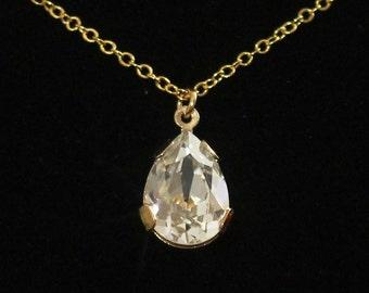 Gold Rhinestone Necklace, Rhinestone Teardrop Wedding Necklace, Swarovski Crystal Estate Style Bridal Jewelry -- SPARKLE