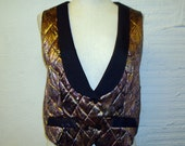 1970s Metallic Vest Vintage Short Cropped Paisley