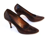 Vintage 1950s Real Alligator Heels Deliso Debs women's tiny 4