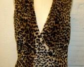 Leopard Fur Vest  Faux Vintage 1960s Animal Print
