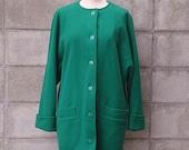Jaeger Coat Vintage 1980s Kelly Green Wool