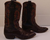 Vintage 1980s Men's Dark Brown Nocona Cowboy Leather Boots 10 1/2