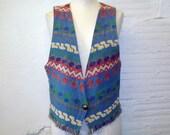 Vintage Southwestern Vest 1980s Vest Print Tribal Cotton