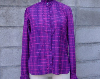 Vintage 1980s High Collar Blouse top Button Up Shirt