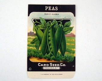 Vintage 1920s Unused Paper Seed Packet Peas