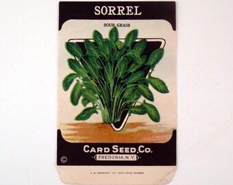 Vintage 1920s Unused Paper Seed Packet Sorrel