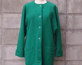 Jaeger Coat Vintage 1980s Kelly Green Wool