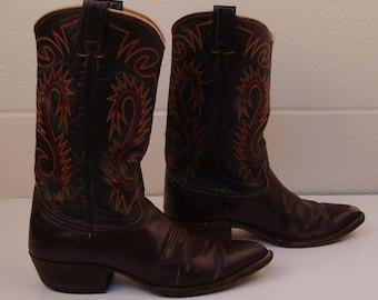 Vintage 1980s Men's Dark Brown Nocona Cowboy Leather Boots 10 1/2