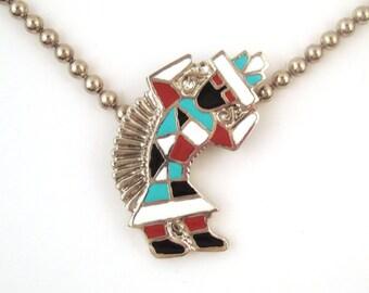 Vintage 1970s Enamel Kachina Dancer Necklace