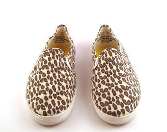 Leopard Canvas Sneakers Vintage 1980s Bonjour Print Women's size 12