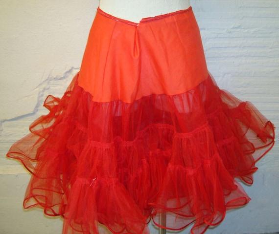 Red Crinoline Vintage Super Full Crinoline Petticoat