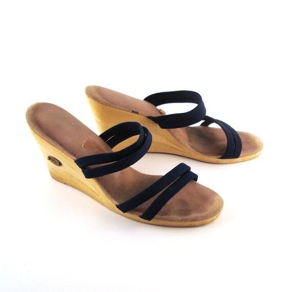 Platform Sandals Vintage 1970s People Movers High Heel Sandals