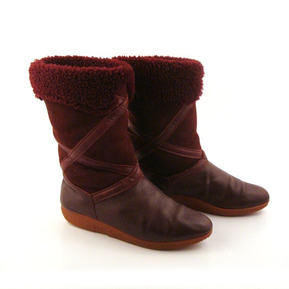 shearling boots vintage 1980s lands end s size 6