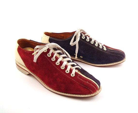 Bowling Shoes Oxfords Red Blue and White Suede and Leather