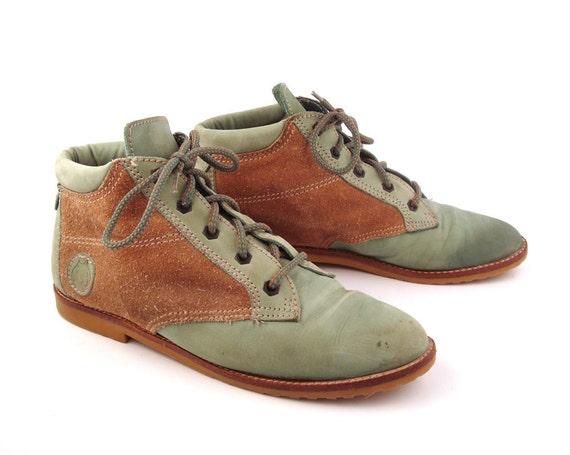 Ankle Boots Vintage 1980s Lace Up Granny Boots Dingo Women's size 8 1/2 M