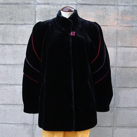 Faux Fur Coat Vintage 1970s Sasoon  Jacket Black Puff Sleeve Power Shoulders
