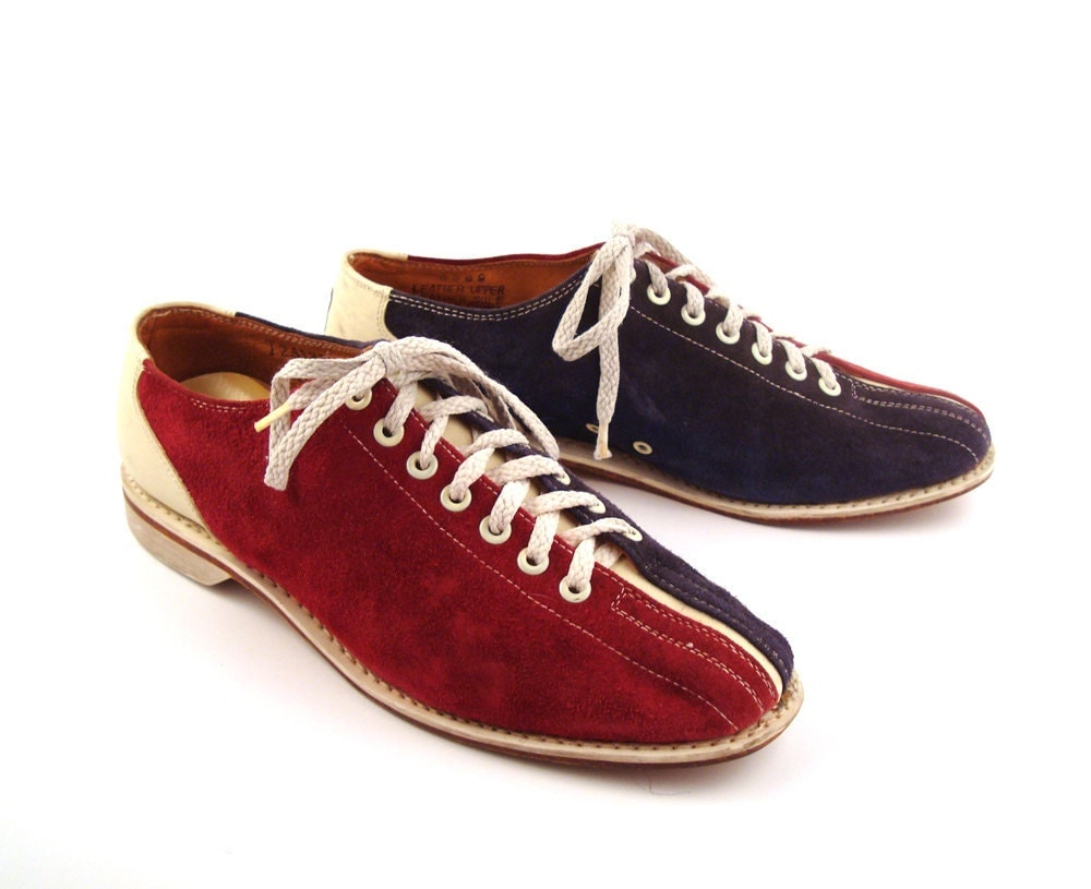 Bowling Shoes Oxfords Red Blue and White by purevintageclothing