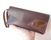 Brown Assymmetrical Leather Clutch