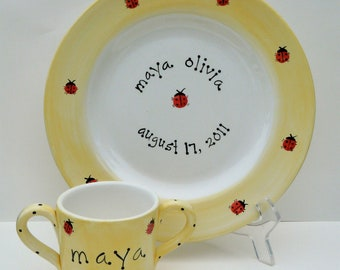 ladybug birth announcement personalized cup and plate set