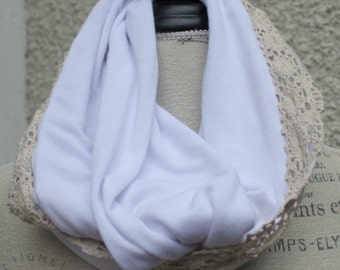 white tissue weight knit scarf with cotton lace trim