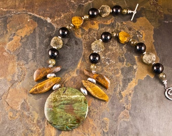 Handcrafted Tiger's Eye, Chrysocolla, Agate, Garnet, Onyx, and Sterling Silver Necklace (N087)
