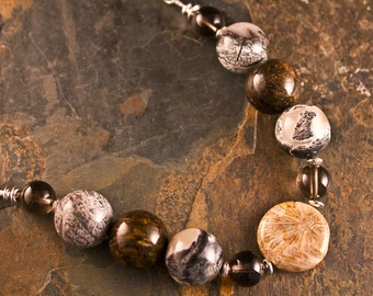 Handcrafted Fossilized Coral, Jasper, Quartz, and Sterling Silver Bracelet (B075)
