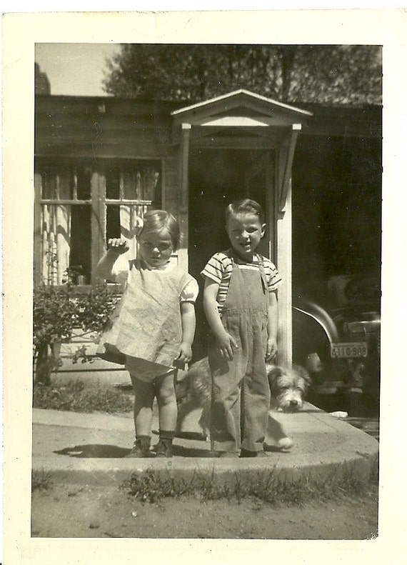 RESERVED TR-Cutest Kids in Shady Glen in 1945 Showing off the Neighbor's Dog