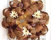 Deco Mesh FALL Wreath Brown Bronze Cheetah Glitter Pumpkins Door Wreath