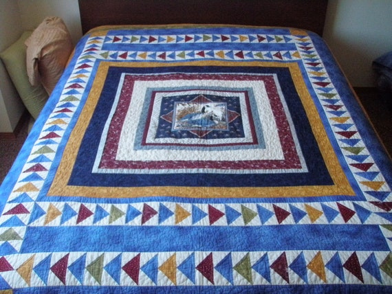 Quilt Queen Handmade Geometric Patchwork Cabin Nesting Geese