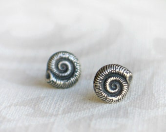 Sea Snail Shell Silver Post Earrings