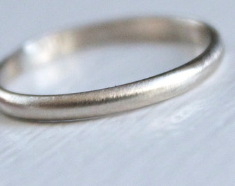 Recycled 14k White Gold Band Simple Modern Brushed Wedding Stacking Ring 2mm x 1mm