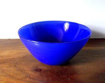 Jane Bruce Cobalt Blue Studio Art Glass Bowl, Artist Signed