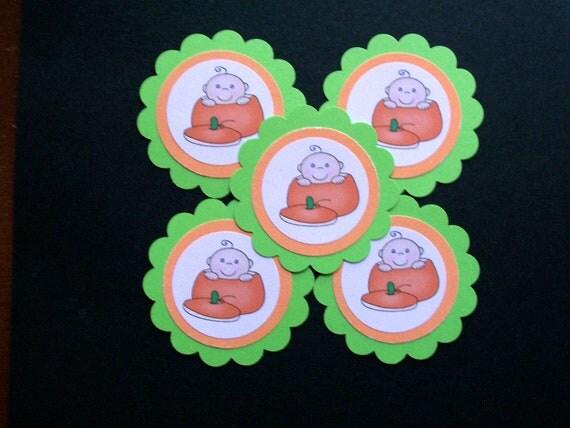10-Count Halloween Baby Pumpkin Die Cut Scallops
