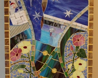 Mosaic, Multi Media, Stained Glass, Winter, Spring, Seasons, Four Seasons