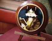 Cat Reading Book, Mr Bennet Wooden Plaque, Wall Hanging, Home Decor
