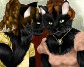 Cat Art, Cat Ladies in Regency Gowns Best Friends Gossiping 8x10 Art Print