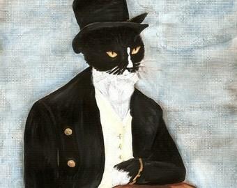 Mr Darcy Cat Art, Tuxedo Cat Dressed in Suit, Pride and Prejudice Jane Austen 5x7 Art Print