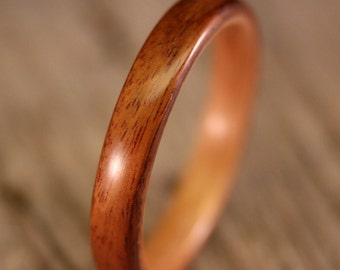 Size 12.5 - Santos Rosewood Lined With Birch Bentwood Ring - Handcrafted Wooden Ring