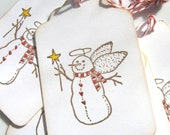 Snow Angel Gift Tags, Snowman Angel Gift Tags