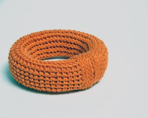 Cotton yarn crocheted bracelet, orange bangle, crochet jewelry