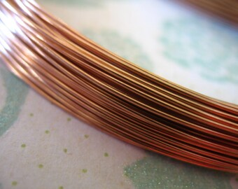 Shop Sale...5 feet, ROSE GOLD Filled Wire, 26 gauge ga g, 14k Rose Gold Filled, half hard, round, for wire wrapping, wholesale  WGF26rg