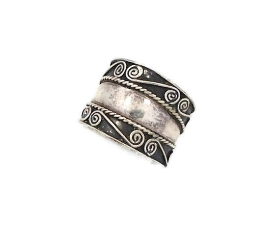 cigar band sterling silver ring wide ethnic by invintageheaven