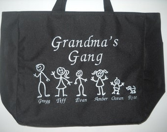 Grandma bag Personalized Tote bag with Kids and Names Grandma Bag, Mom Bag, Knitting bag, Sewing bag, Embroidered