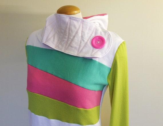 RAINBOW SHERBET - Hoodie Sweatshirt Sweater - Recycled Upcycled - One of a Kind Women - MEDIUM