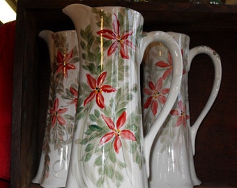 Poinsettia Serving Pitcher/free hand painted/OOAK